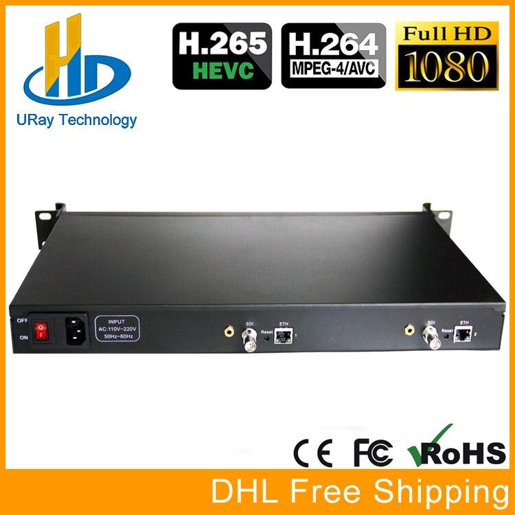 1U Rack HEVC H.265 SD HD 3G SDI À IP HD Vidéo Codeur IPTV Codeur 2 Canaux En Direct Streaming RTMP Codeur SDI À H.264 H.265