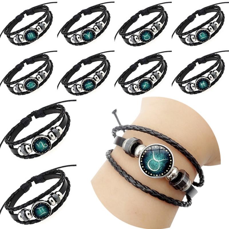 2018 new Handmade Glass Cabochon Braided Leather Bracelets 12 Constellation Men Beaded Charm Punk Style Jewelry Birthday gift