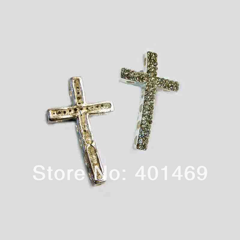 New 6pcs lot metal alloy double rows crystals silver hollow hearts cross charm DIY decorative ornament accessories