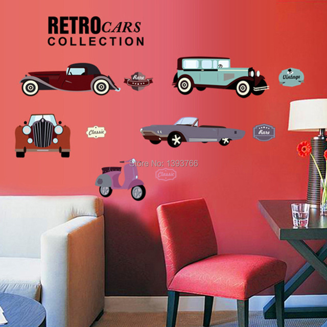 Cartoon Retro Cars Wall Stickers For Kids Rooms Child Room Decoration 7213 Nursery Decor Wallpaper