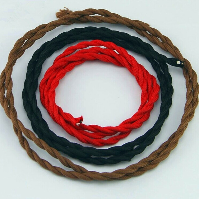 2 Draht Farbe 0,75mm 2 Twisted Kabel Retro Geflochtenen Elektrischen ...