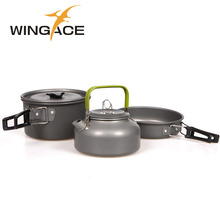 WINGACE Hiking Camping Cookware Pots Pans Alumina Picnic Tableware For Trekking Backpackin Outdoor Frying Pans Tea Pot