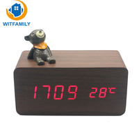 LED Rectangular Desktop Alarm Clock with Wireless Charging Function Voice Control Time Temperature Display Snooze Wood Clock