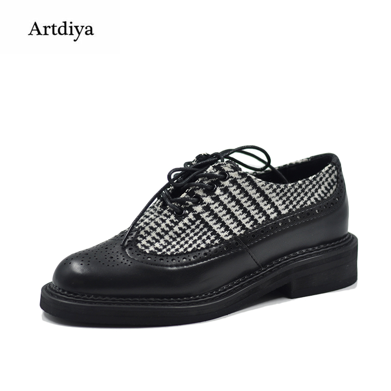 Здесь продается  Artdiya Original 2018 New British Style Four Seasons Women Shoes Bullock Casual Handmade Shoes 18-34  Обувь