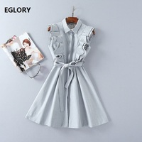 Ruffles Dress New Casual Office Dress Spring 2018 Vestido Women Self Belt A Line Dress Ladies