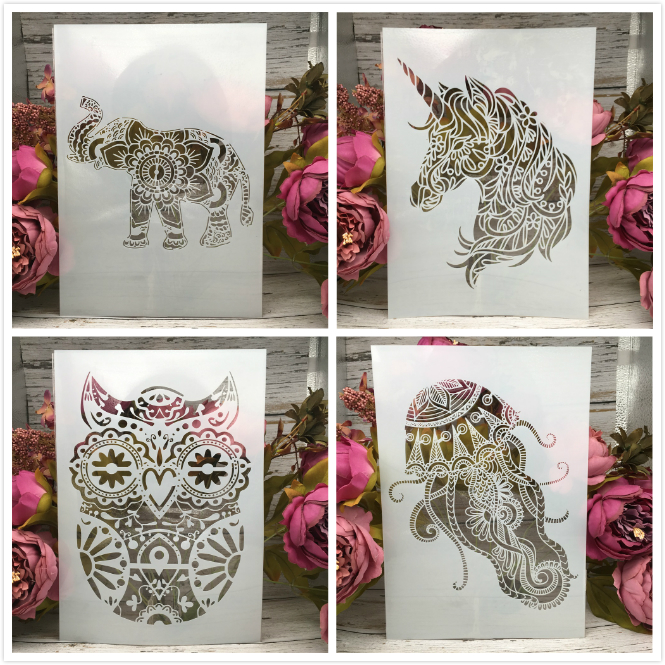 4Pcs/Lot A4 Owl Unicorn Elephant DIY Layering Stencils Painting Scrapbook Coloring Embossing Album Decorative Card Template