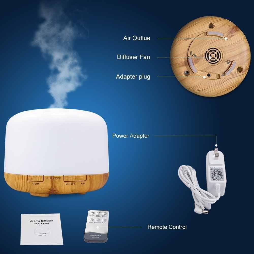 Diffuseur ultrasonique d'huile essentielle d'arome de l'humidificateur d'air 500 ml avec le fabricant à télécommande de brume de diffuseur d'aromathérapie de lampe à LED
