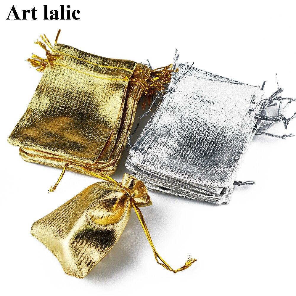 100 Stücke Organza Kordelzug Taschen Gold & Silber Schmuck Geschenk ...