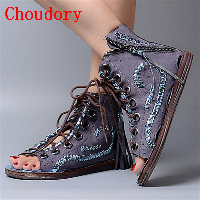 Choudory Revits Women Genuine Leather Summer Sandals Peep Toe Casual Flat Shoes Woman Fringed Gladiator Sandal Hollow Out Flats choudory bohemia women genuine leather summer sandals casual platform wedge shoes woman fringed gladiator sandal creepers wedges
