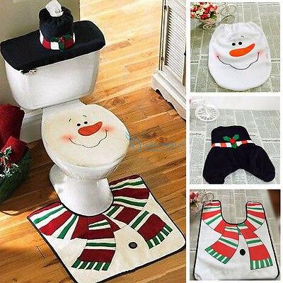 bahagia santa toilet kursi penutup, karpet natal xmas