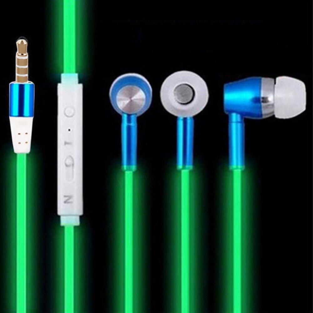 EDAL Shining In The Dark Earphones Luminous Headphones Night Light Glowing Headset Stereo Sport Headphone With Mic