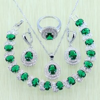Green Emerald White Topaz Jewelry Set 925 Sterling Silver For Women Wedding Crystal Bracelets Necklace Earrings