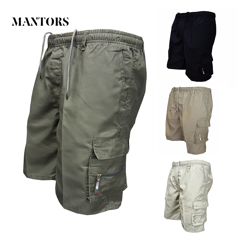 Summer Casual Men Shorts 2018 New Solid Cargo Shorts Male Knee Length Military Shorts Slim Elastic Straight Men's Bermuda Shorts