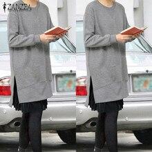 2018 ZANZEA Women Autumn Fleece Hoodies Sweatshirts O Neck Long Sleeve Asymmetrical Hem Split Loose Pullovers Tops Plus Size