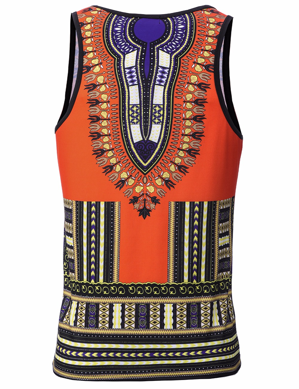 Adult Men Vogue African Dashiki Print Striped Tee Shirt Fitness Slim Cami Tank Tops Muscle Sleeveless Summer Vest T Shirt 3XL (6)