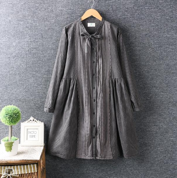 Pleated Lacing patchwork Plaid lace up bow stand collar long sleeve vintage dress mori girl