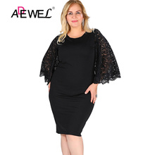 ADEWEL Sexy Black Lace Hollow Out Sleeve Bodycon Short Dress Women Casual Long Plus Size size 5XL Party Dresses