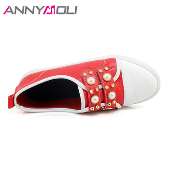 ANNYMOLI Shoes Women Flats Rivets Flat Shoes Round Toe Pearls Loafers 2018 Spring Casual School Shoes Red White chaussures femme 4
