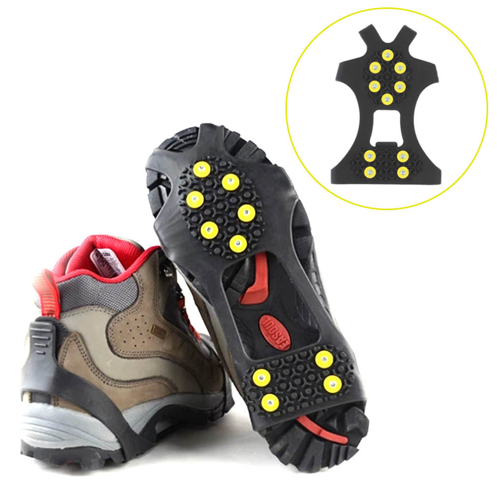 1 Pair 10 Studs Anti-Skid Snow Ice Thermoplastic elastomer Climbing Shoes Spikes Grips Cleats Over Shoes Covers Crampons