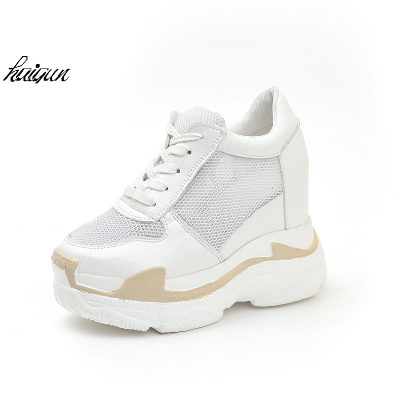 Woman Platform Shoes Hidden Heel Height Increasing Mesh Casual Wedges Shoes Female Chaussure Femme 11 cm Heels Sneakers hot new 2018 spring autumn wedges high heels ladies casual shoes vulcanize women slip on platform shoes female chaussure femme