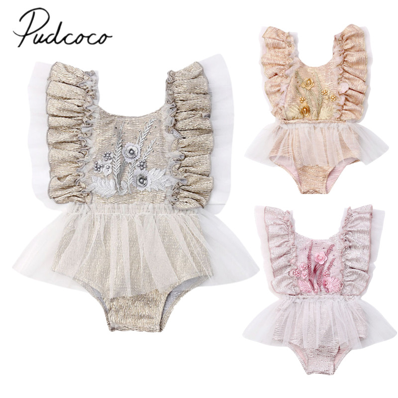 Flower Ruffle Baby Romper Jumpsuit Outfits Girl Clothes Bodysuit Sunsuit Summer