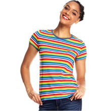 Rainbow  Striped T Shirt for Women Round Neck Short Sleeve Tees Colorful Stripes Summer Cool Top Woman Casual
