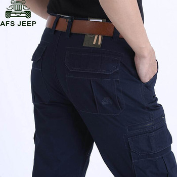 AFS JEEP Men's Cargo Pants New Designer Solid Straight Trousers Multi-pockets Cargo Pants pantalon homme No Belt Free Shipping