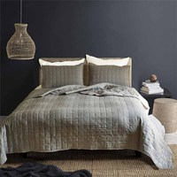 Luxury Bedspread Quilted Bed Spread Lattice Bed Cover Double Lightweight Coverlet Set Gray Summer Quilt Blanket US Queen King