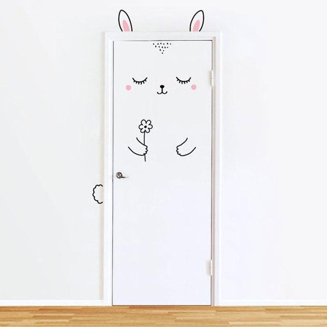 Buồn ngủ Bunny Door Decal Tường Stickers Cho Trẻ Em Cô Gái,, cát Door Tường Sticker Cho Bé Phòng Ngủ của Cô Gái Cửa hoặc Tủ Quần Áo Dễ Thương Decor