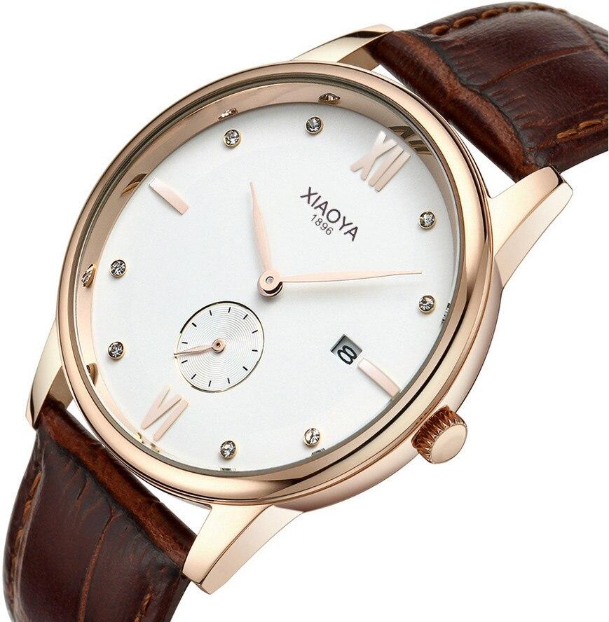 e41572c5ee4 XIAOYA Relógios Homens Marca De Luxo Relógios de Quartzo Relógio De Homens  De Couro Casual Relógio de Pulso Masculino reloj hombre montre homme