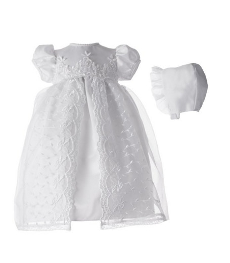 2016 New Baby Infant Christening Dress Baptism Gown Baby Girl Boy Lace Satin White/Ivory WITH BONNET 0-24month