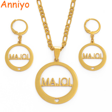 Anniyo MAJOL Islands Pendant Necklaces Earrings Women Gold Color Stainless Steel Jewelry Gifts (CANNOT CUSTOMIZE NAME)#034221