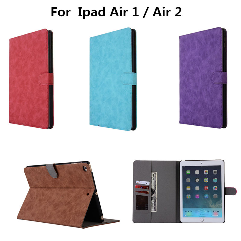 все цены на Case For Apple iPad Air 1 2 Protective Smart Wallet With Stand Card PU Leather cover For iPad Air2 Air1 ipad6 Tablet 9.7 inch