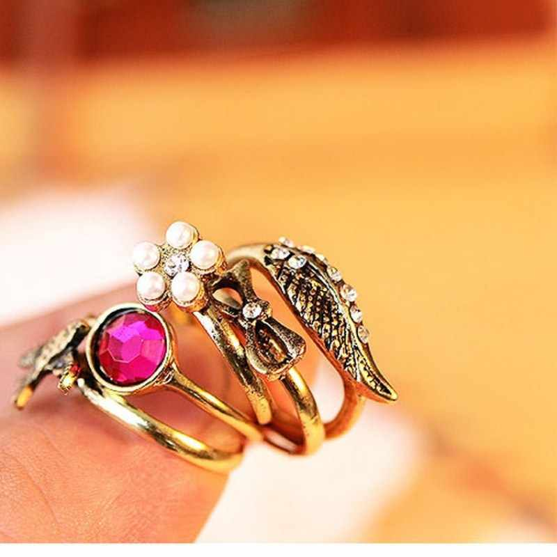 Fashion Jewelry Vintage Rings Set Wing Bowknot Swallow Crystal Finger Rings For Women Simulated Pearls Mushroom Bague Femmes