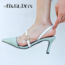 AIKELINYU Sexy Genuine Leather Pointed Toe High Heels Women Sandals Wedding Shoes Quality Mixed Colors