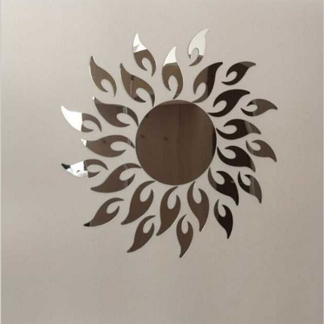 2017 promotie hot zon spiegel ring acryl muurstickers moderne ontwerp 3d interieur woonkamer horloges gratis verzending