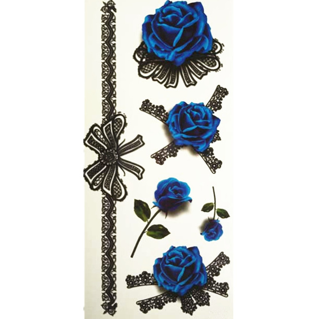 3D Lifelike Pretty Temporary Tattoo 19X9CM BLUELOVER Rose Black Lace