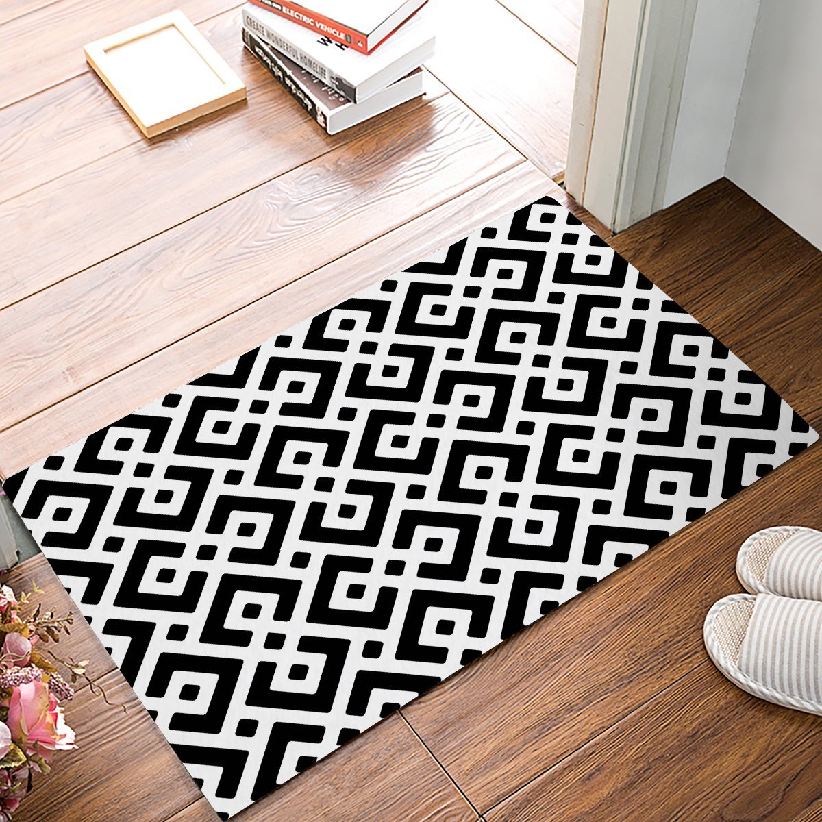Black And White Geometric Kitchen Rug: Black And White Simple Geometric Pattern Door Mats Kitchen