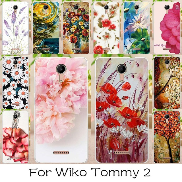 AKABEILA Soft TPU Painted Case For Wiko Tommy 2  Tommy2 5.0 inch Silicone Case Back Cover Lovely Flowers Plants Housings Hood