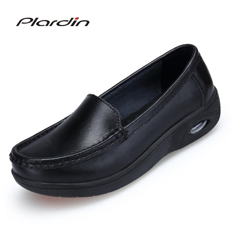 Plardin 2018 Four Seasons Women Pure white and black Platform soft Full sole Nurse shoes woman air cushion shoes genuine shoes batman black and white volume four