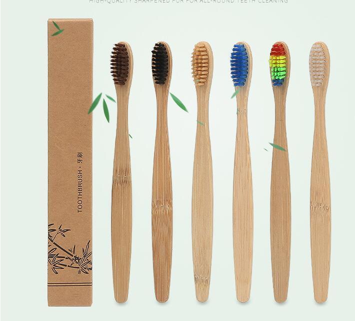 30 pcs mixed iris colorido branqueamento de cerdas macias de bambu natural alca de bambu escova