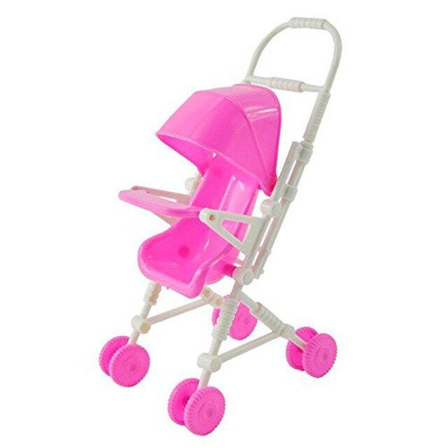 Розовый Детская Коляска Детская Коляска Тележка Детские Игрушки Мебель для Барби Куклы Подарки для Девочек, Бесплатная доставка