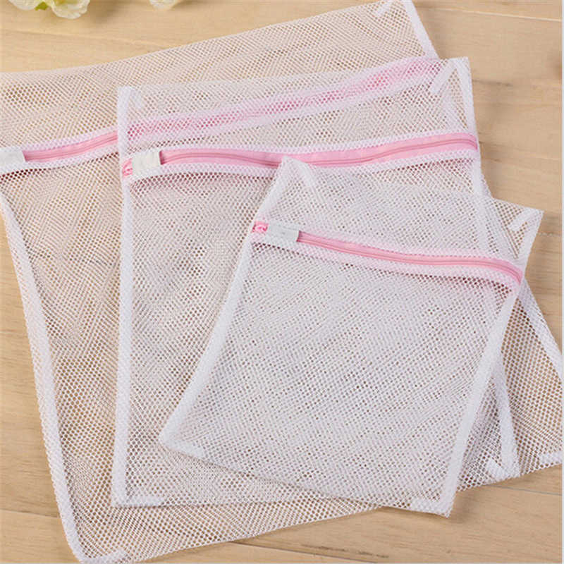 3 Size Zippered Mesh Laundry Wash Bags Foldable Delicates Lingerie Bra Socks Underwear Washing Machine Clothes Protection Net