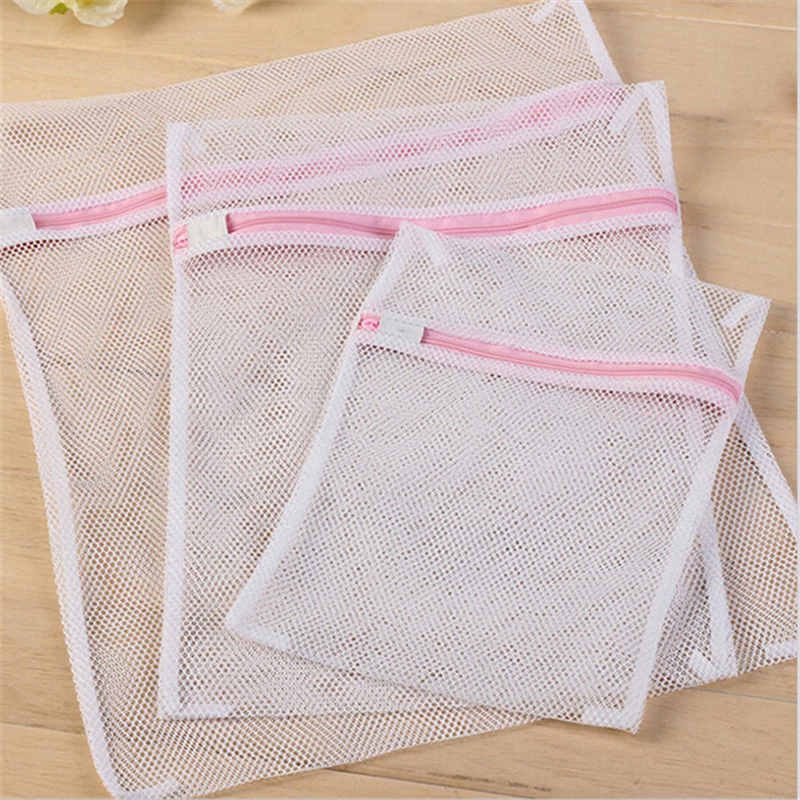3 Size Zippered Mesh Laundry Wash Bags Foldable Delicates Lingerie Bra Socks Underwear Washing Machine Clothes Protection Net