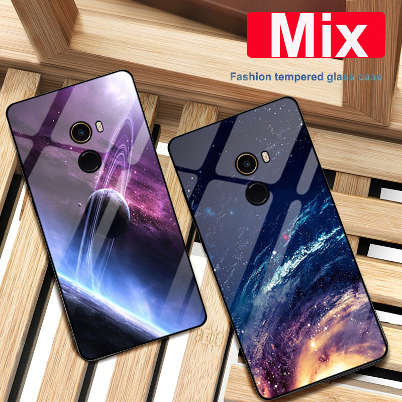 Coque For xiaomi mi Mix case Starry sky tempered Glass + TPU Edge Slim Thin Hard Back Cover For xiaomi mi Mix 1 Mix1 phone case|Phone Bumpers| |  - title=
