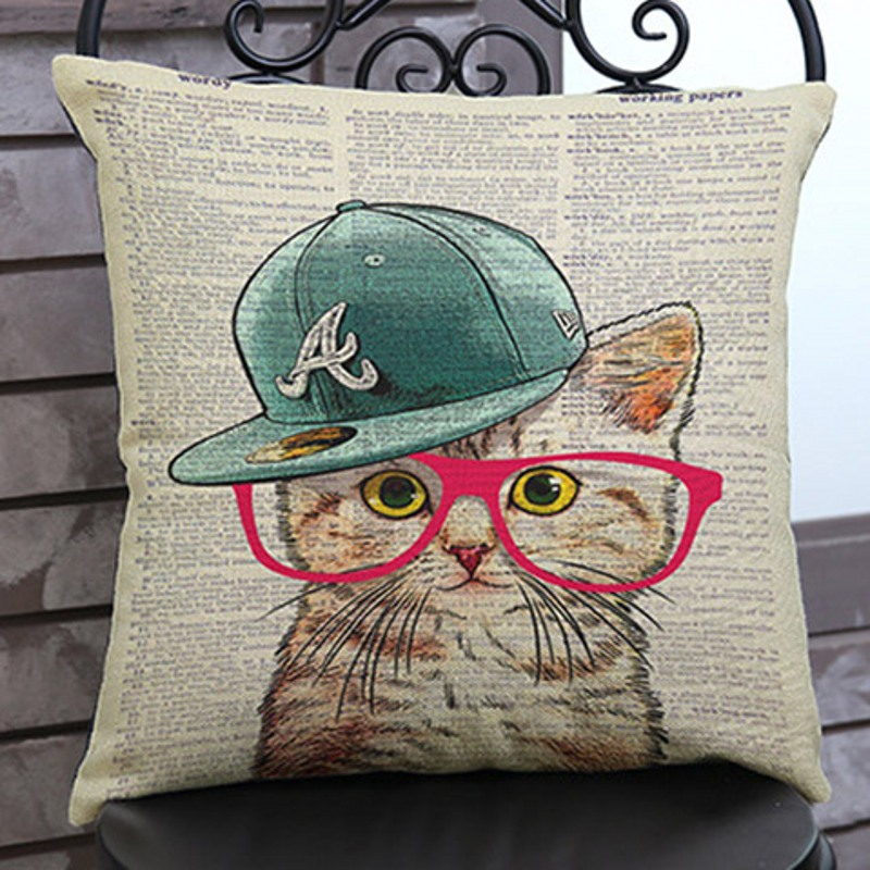 Vintage lovely Cat Kitten Dog Puppy In Cap Sofa Cushion Office Seat Pillows For Car Cotton Linen Home Decorative Birthday Gift ...