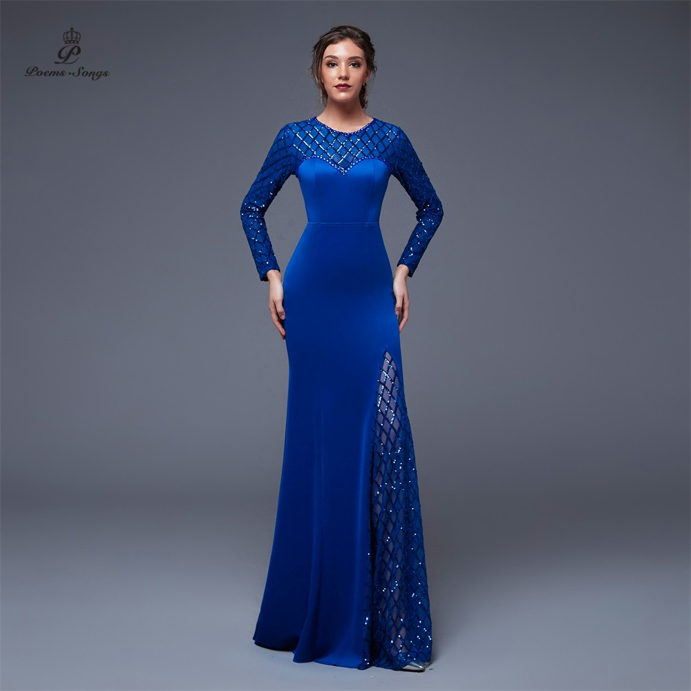 Poems Songs New Year Sequin long sleeves   Evening     dress   Slit Side Open Mermaid Prom   dress   vestido de festa Vintage robe longue
