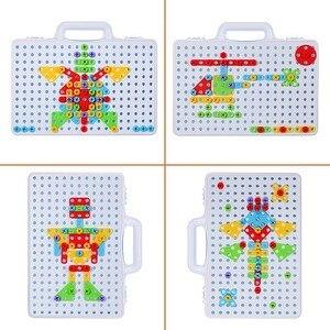 Image 2 - 子供ドリルゲームクリエイティブモザイク建物のパズルセット知的教育玩具電気ねじナットのためのツールキット