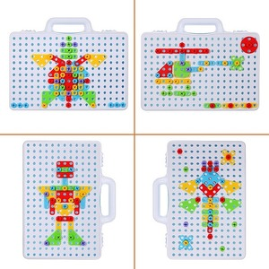 Image 2 - Children Drill Games Creative Mosaic Building Puzzle Set Intellectual Educational Toys Electric Screws Nuts Tools Kit for Boys