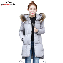 [Speed Hiker] 2016 Зима Женщины Парки женская Ватные Куртки Верхняя Одежда Мода Хлопка-проложенный С Капюшоном Длинное Пальто плюс размер 3XL K8019